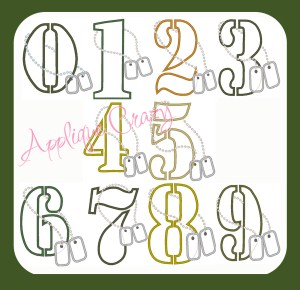 Military Applique Number Set