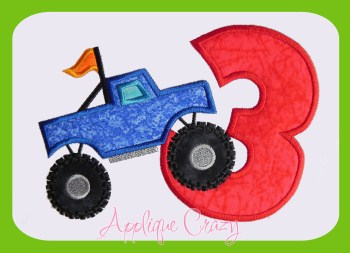 Monster truck Applique Number 3