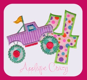Monster truck Applique Number 4