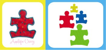 Autism Awareness Applique and Embroidery design