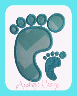 Baby foot Applique and Embroidery design