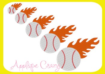 Baseball with flames Embroidery filled design