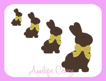 Chocolate Bunny filled Embroidery Design
