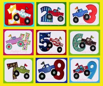 Monster truck Applique Number Set