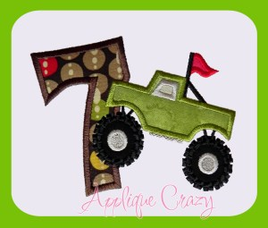 Monster truck Applique Number 7