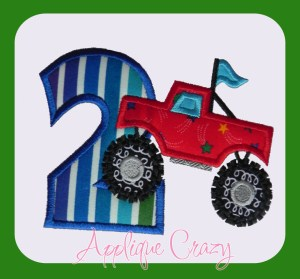 Monster truck Applique Number 2