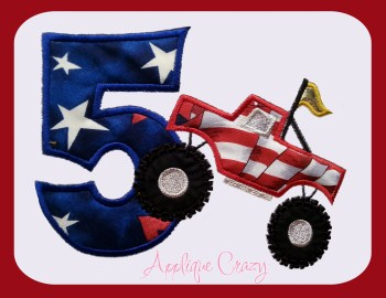 Monster truck Applique Number 5