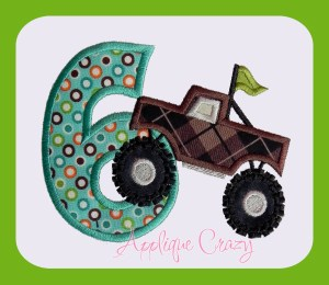 Monster truck Applique Number 6