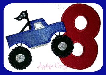 Monster truck Applique Number 8